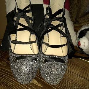 Lace up sparkle heels
